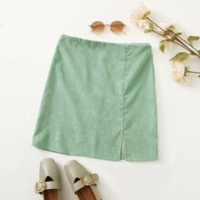 Split Hem Zipper Back Corduroy Skirt