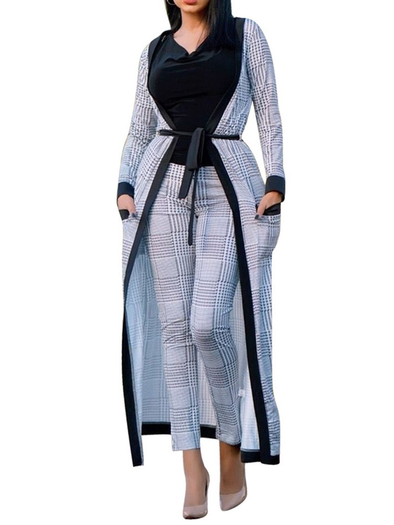 Ericdress Print Geometric Pocket Trench Coat and Pants Women's Two Piece Set