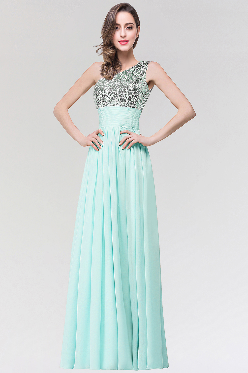 BMbridal Sparkly One-shoulder Ruffle Long Bridesmaid Dresses with Sequined Top