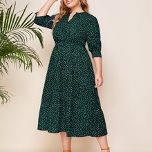 Plus Notched Polka Dot A-line Dress