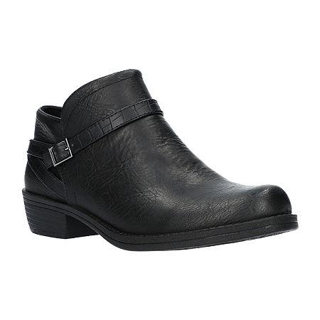 Easy Street Womens Peony Booties Block Heel, 6 Wide, Black