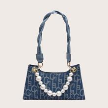 Faux Pearl Strap Letter Graphic Baguette Bag