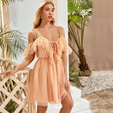 Ruffle Cold Shoulder Lace Up Mesh Dress