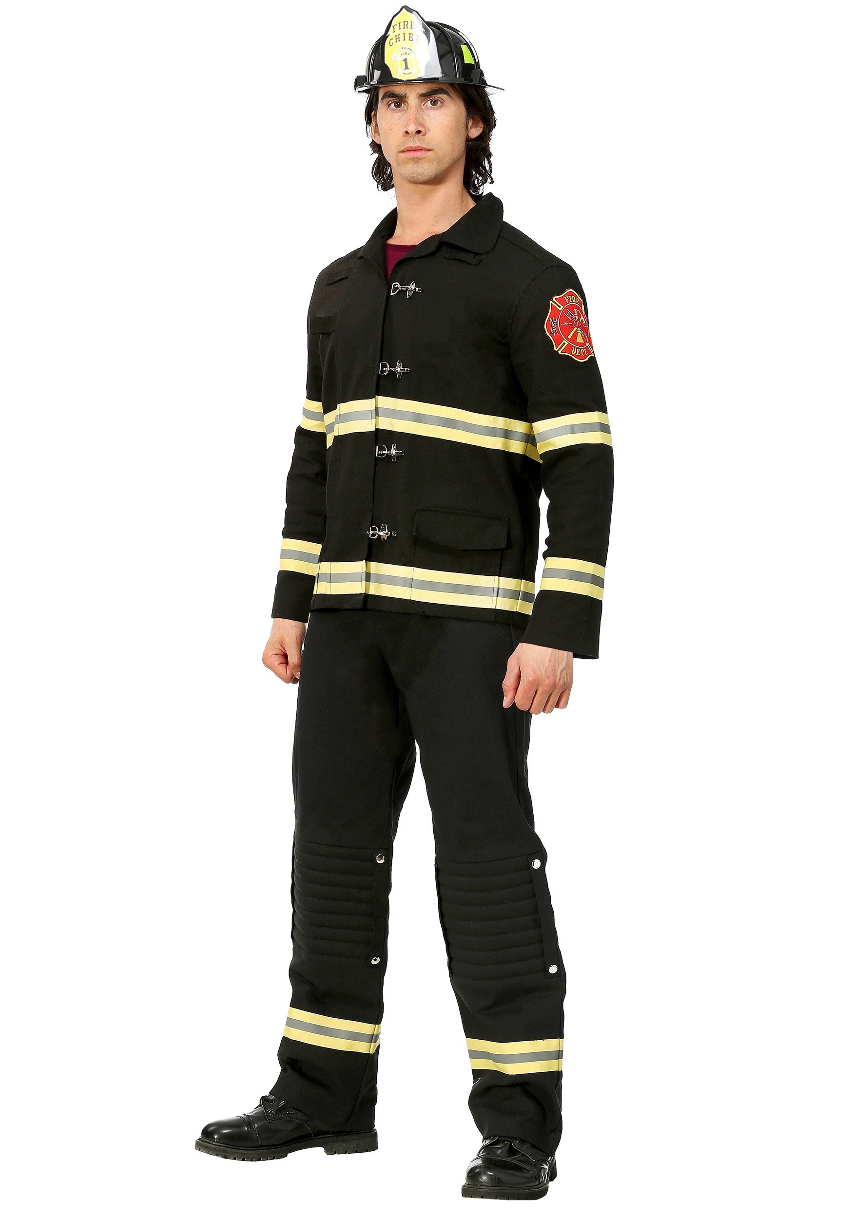 Black Uniform Firefighter Costume for Men