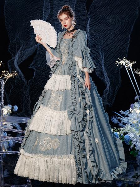 Milanoo Disfraz retro victoriano rococo vestido con volantes en capas disfraz de Cosplay Halloween