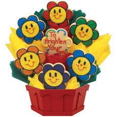 Smiling Face Daisies Cookie Bouquet