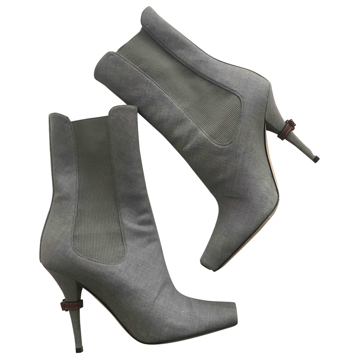 Burberry \N Grey Cloth Ankle boots for Women 37 EU