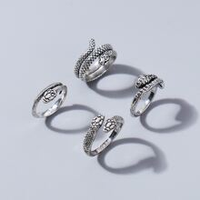 4 piezas anillo serpiente de hombres
