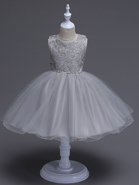 Milanoo Champagne Vestido de niña para boda 2020 de las flores Tutu Niñas Vestidos formales Keyhole Lace Bows Tulle Princesa Cena vestidos de fiesta