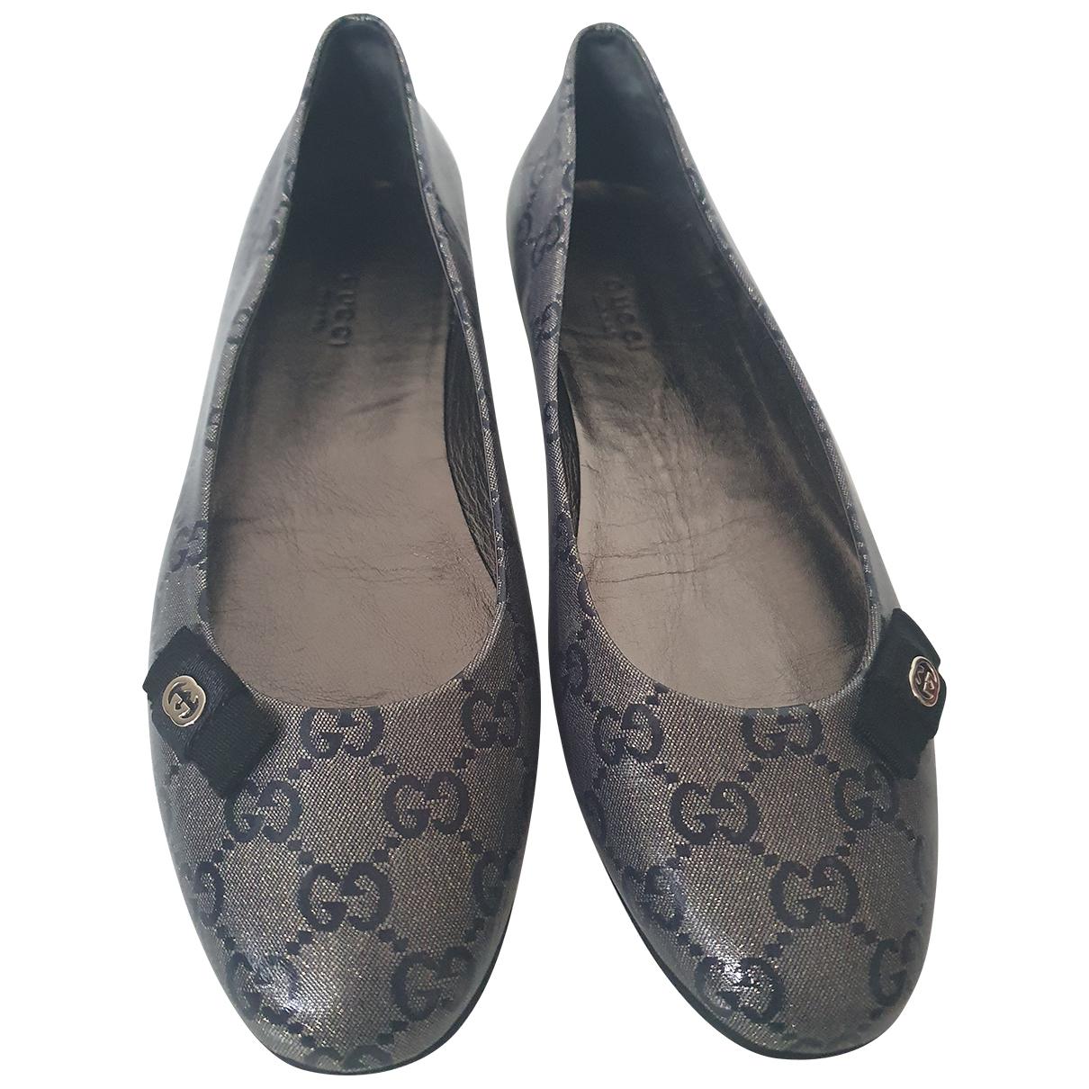 Gucci N Grey Leather Ballet flats for Women 38 EU