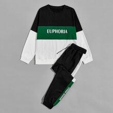 Sudadera de color combinado con estampado de letra con pantalones