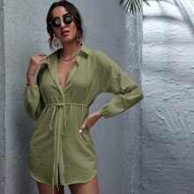 Button Front Belted Longline Blouse