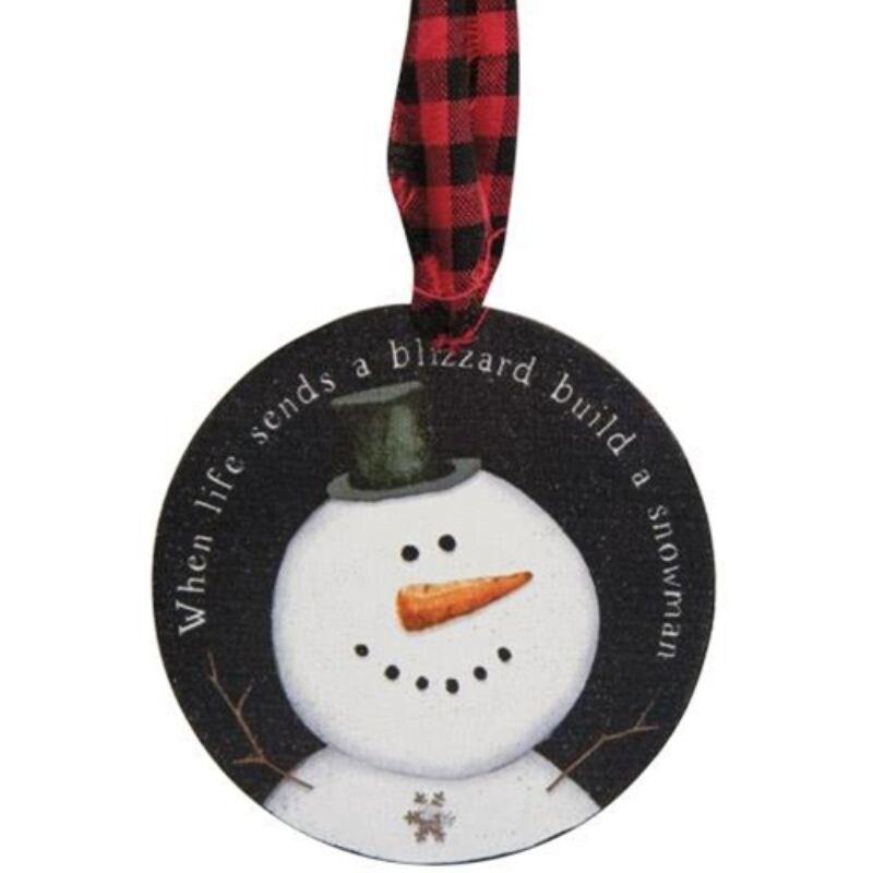 3/Set Happy Snowman Ornaments (Wood)