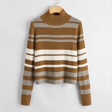 Mock-neck Striped Rib-knit Sweater