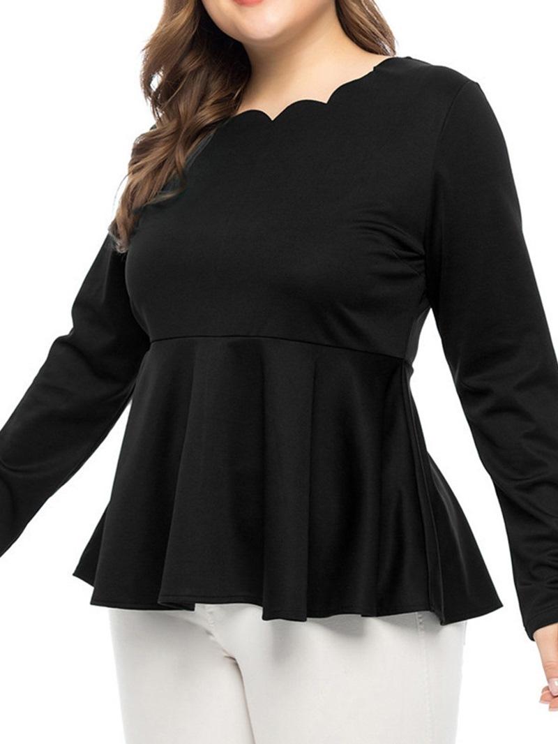 Ericdress Plus Size Regular Plain Mid-Length Slim Blouse