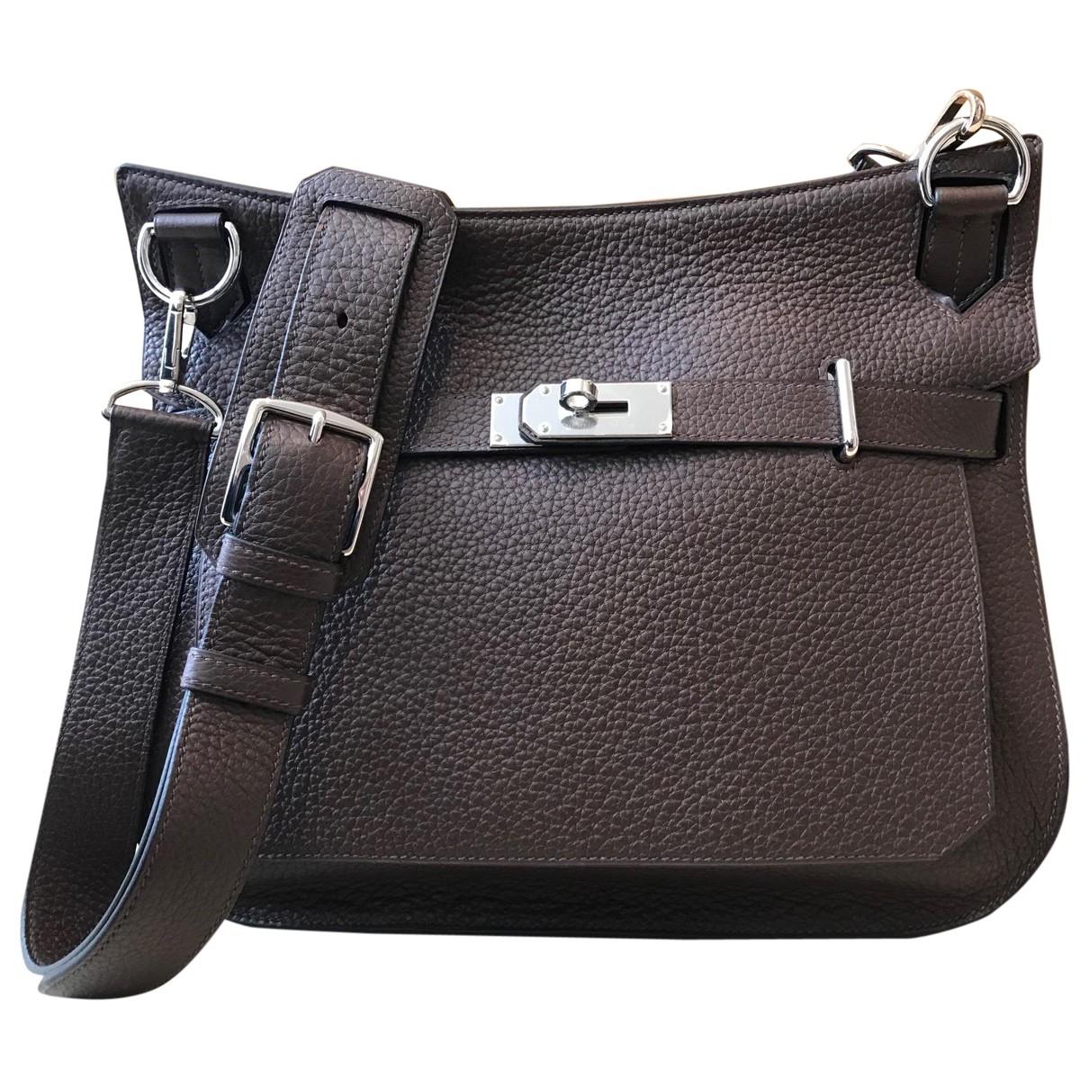 Hermes Jypsiere Handtasche in  Braun Leder