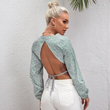 Backless All Over Print Surplice Crop Top