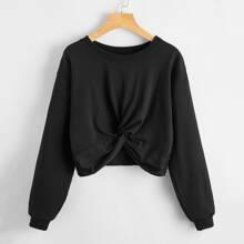 Einfarbiger Crop Pullover mit Twist