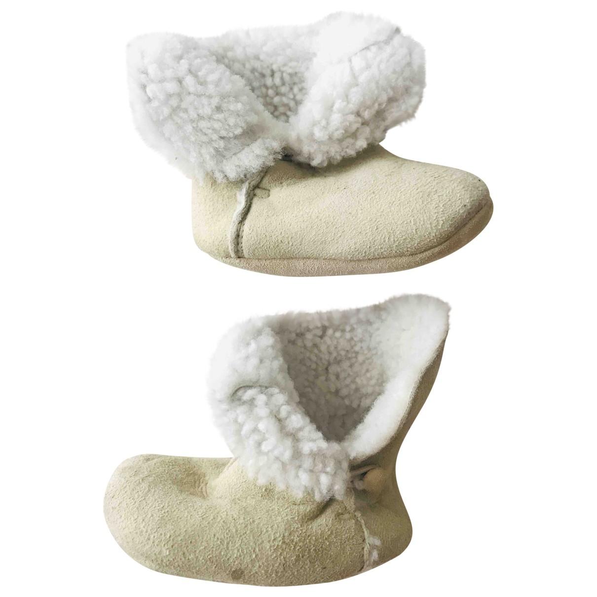 Bonpoint - Chaussons   pour enfant en cuir - beige
