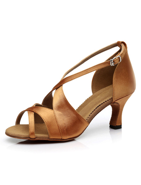Milanoo Light Brown Latin Dance Sandals Satin Heels for Women