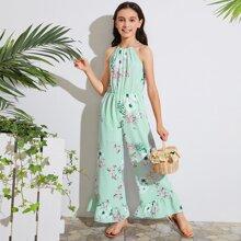 Girls Ruffle Hem Floral Print Wide Leg Halter Jumpsuit