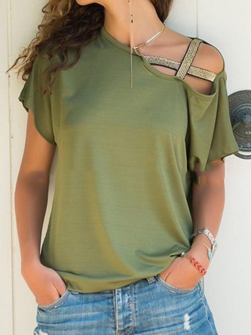Ericdress Short Sleeve Oblique Collar Standard Loose T-Shirt