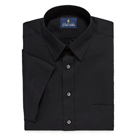 Stafford Mens Short Sleeve Travel Easy-Care Broadcloth Stretch Dress Shirt, 15.5 , Black