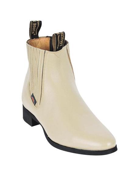 Los Altos Charro Botin Short Ankle Deer Bone Leather Boots For Men