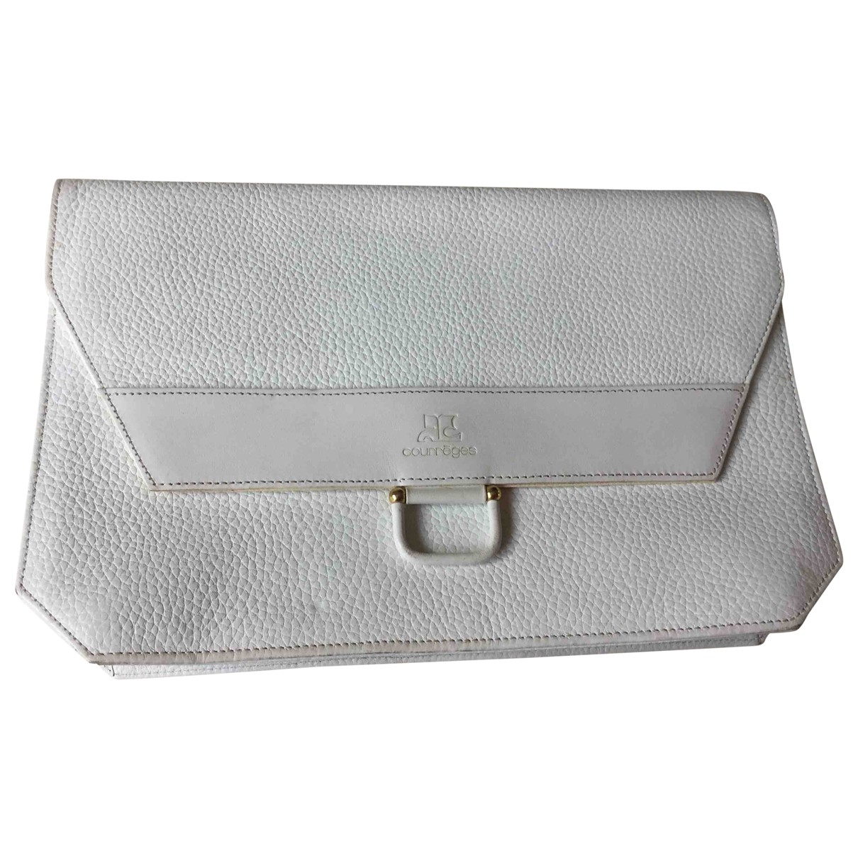 Courreges \N Clutch in  Weiss Leder
