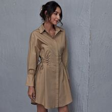 Lace Up Waist Shirt Dress