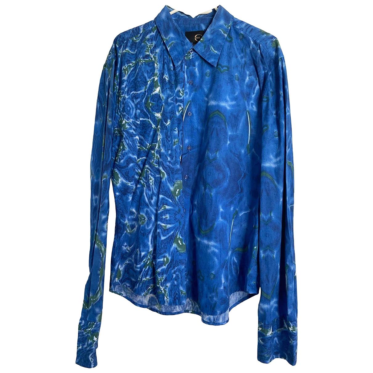 Just Cavalli \N Blue Cotton Shirts for Men XL International