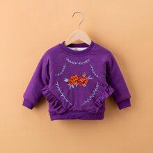 Toddler Girls Floral Embroidery Ruffle Trim Sweatshirt