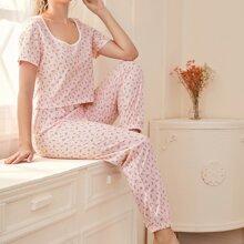 Pajama Set mit Gaensebluemchen Muster und U Kragen