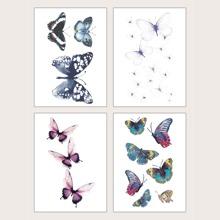 4pcs Butterfly Pattern Tattoo Sticker