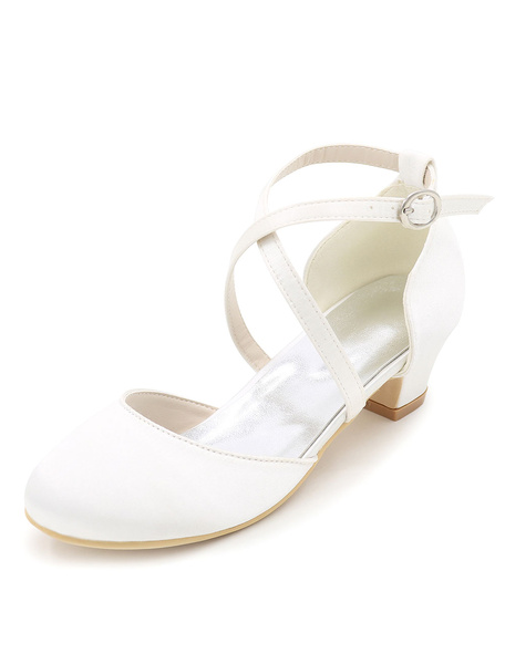 Milanoo Champagne Flower Girl Pumps Satin Shoes Criss Cross Chunky Heel Wedding Shoes For Flower Girl