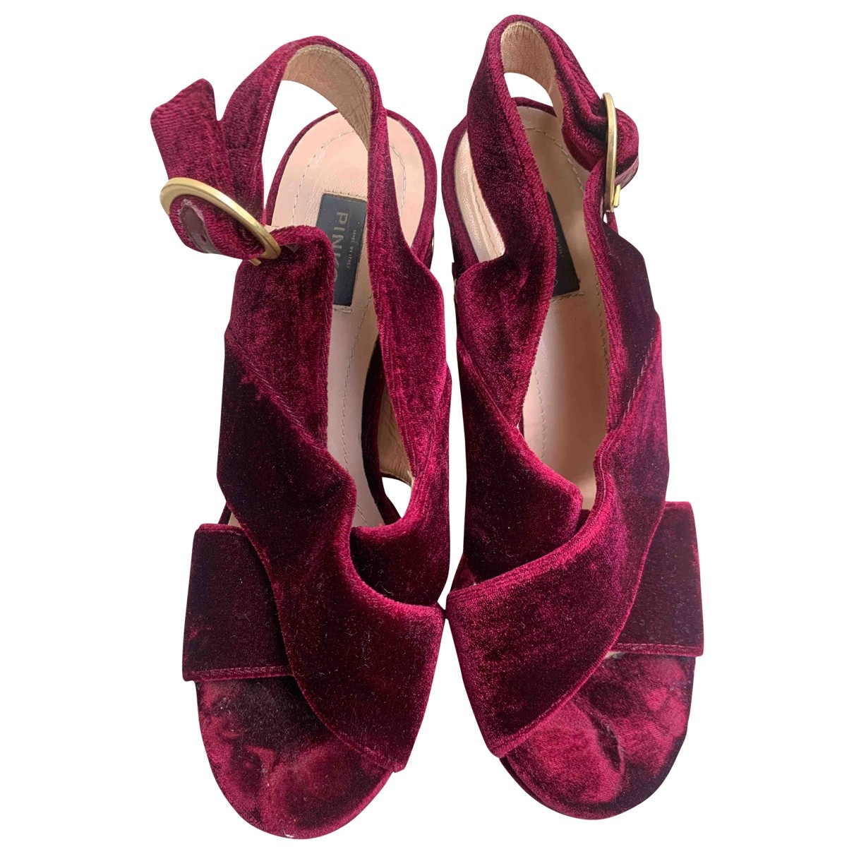 Pinko \N Burgundy Velvet Sandals for Women 36 EU