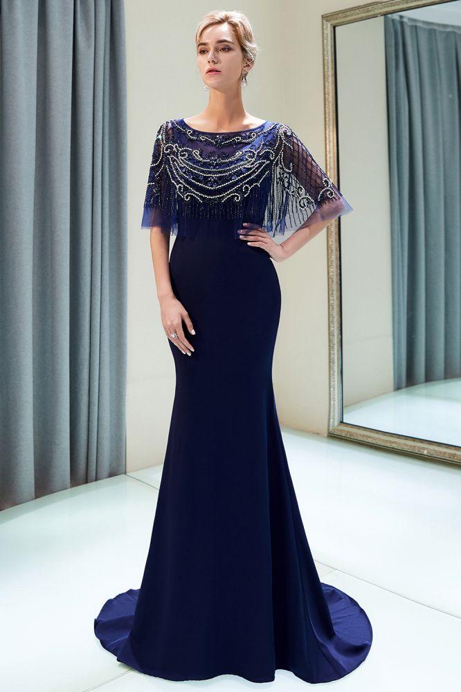 Marilyn | Vestidos formales de cristal de sirena hasta el suelo con cuentas