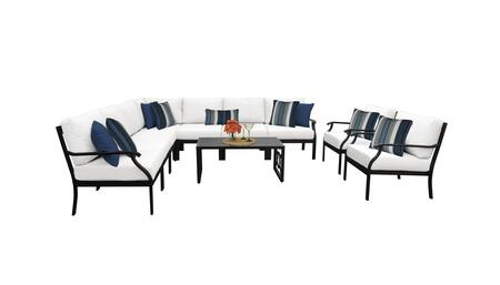 MADISON-10a-WHITE Kathy Ireland Homes and Gardens Madison Ave. 10 Piece Aluminum Patio Set 10a with 1 Set of Snow and 1 Set of Alabaster