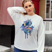 Pullover mit Drachen Muster und Raglan Ärmeln