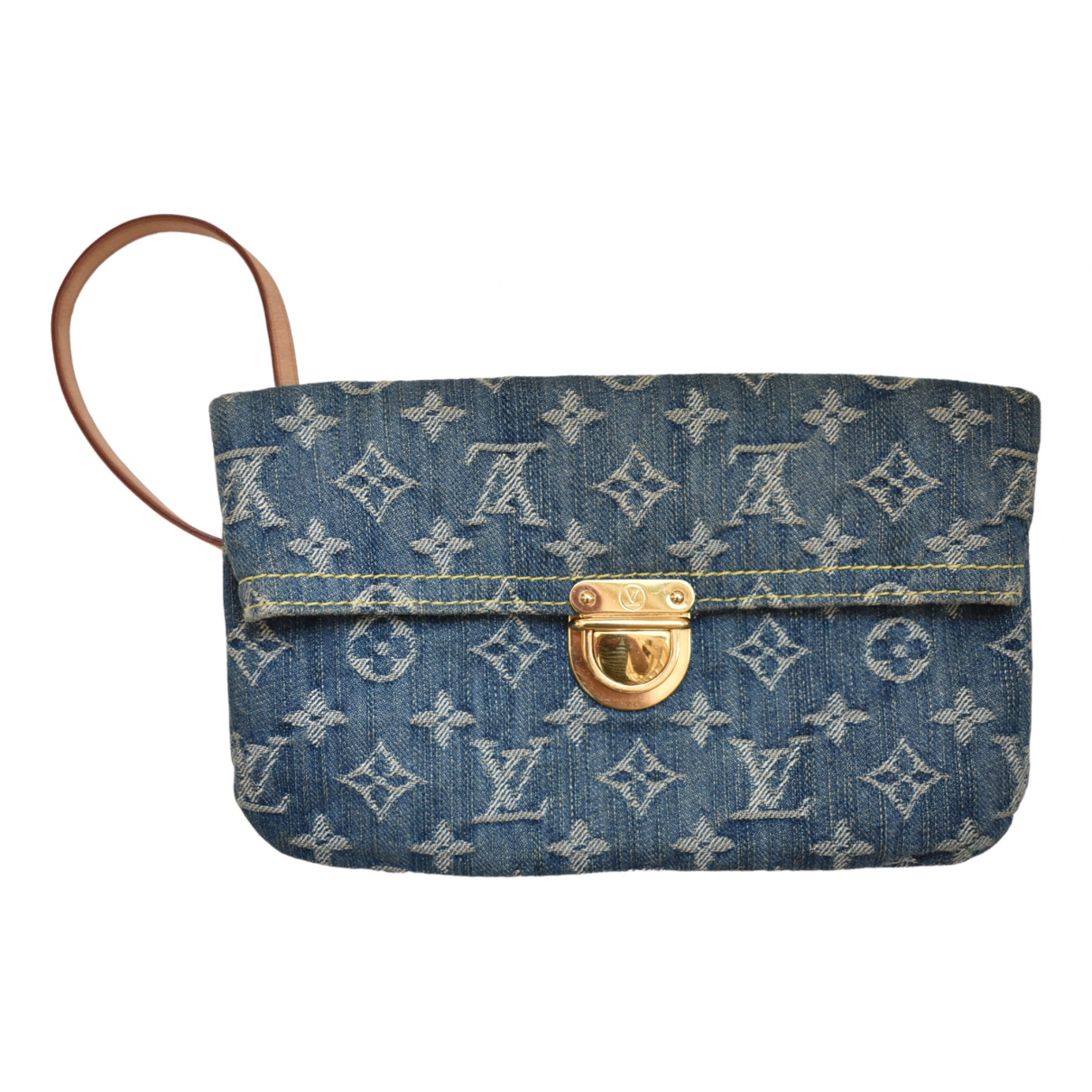 Louis Vuitton Plat Clutch in  Blau Denim - Jeans