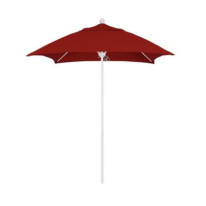 ALTO604170-5403 6' Venture Series Commercial Patio Umbrella With Matted White Aluminum Pole Fiberglass Ribs Push Lift With Sunbrella 2A Jockey Red