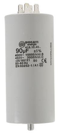 Ducati Energia 90μF Power Electronic Capacitors (PEC) 450V ac ±5% Tolerance Stud Mount 4.16.10 Series