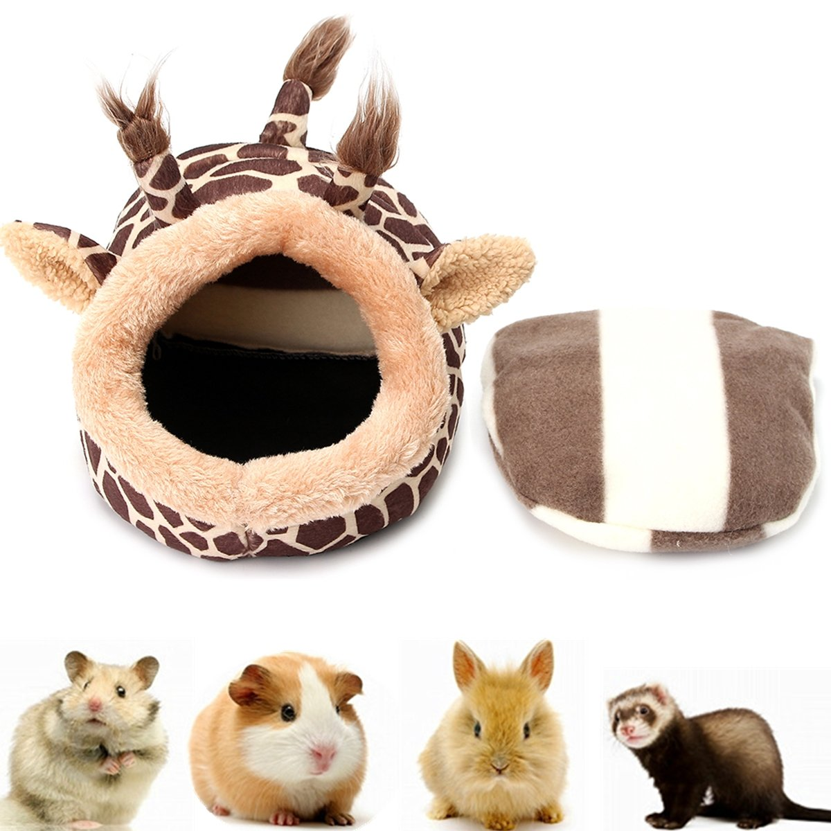 Giraffe Shaped Small Animal Rat Hedgehog Squirrel House Bed Nest Cage With Pad