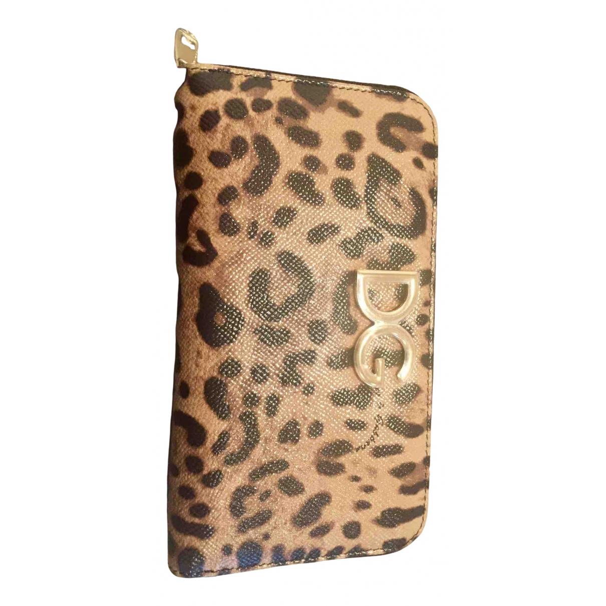 Dolce & Gabbana - Portefeuille   pour femme en cuir - camel