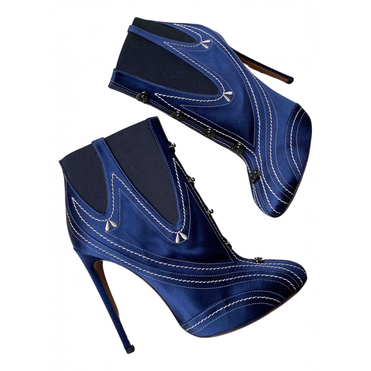Alaïa N Blue Leather Ankle boots for Women 40 EU