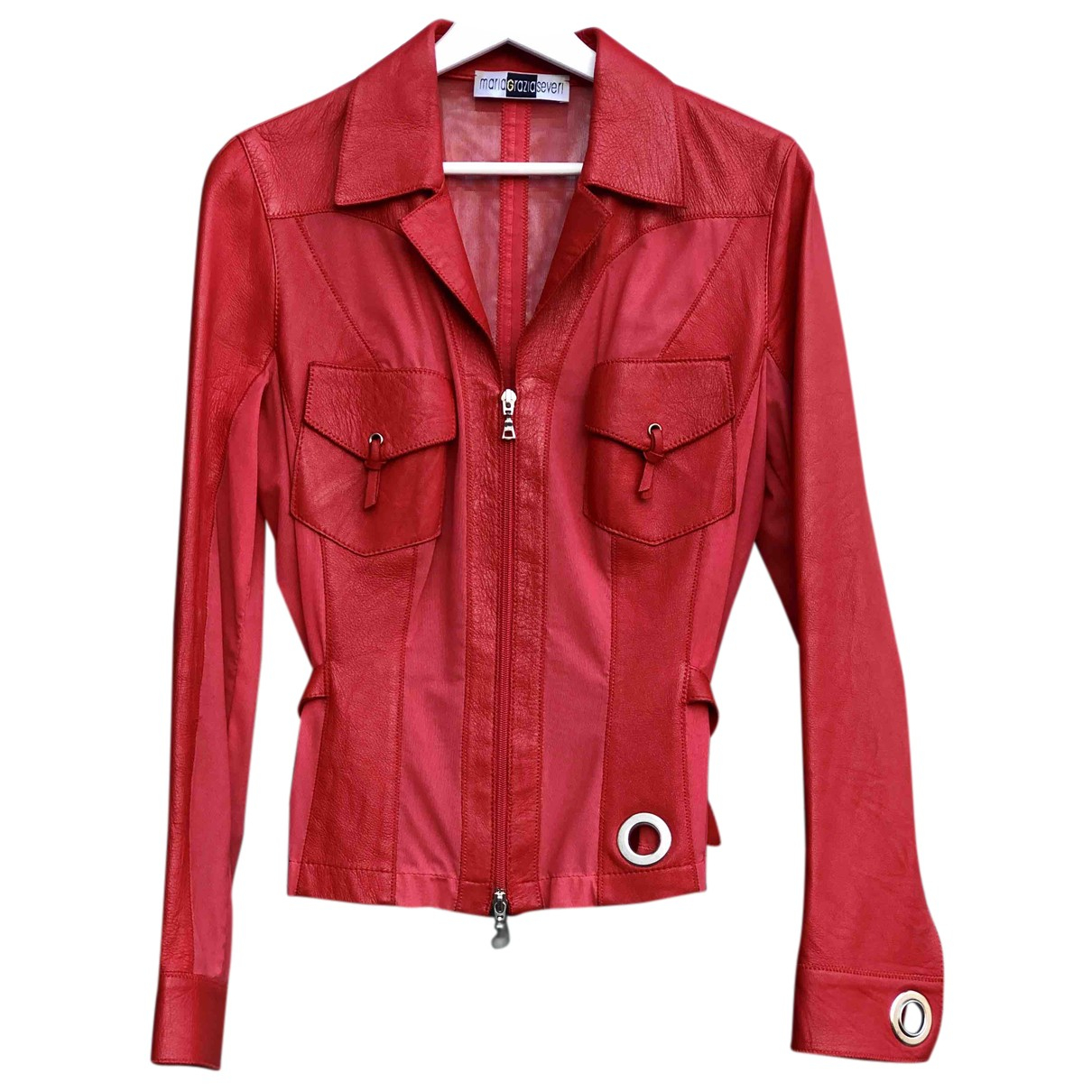 Maria Grazia Severi N Red Leather Leather jacket for Women M International