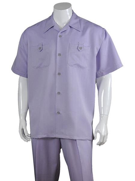 Men's 5 Button Casual 100% Polyester Short Sleeve Solid Walking Suits