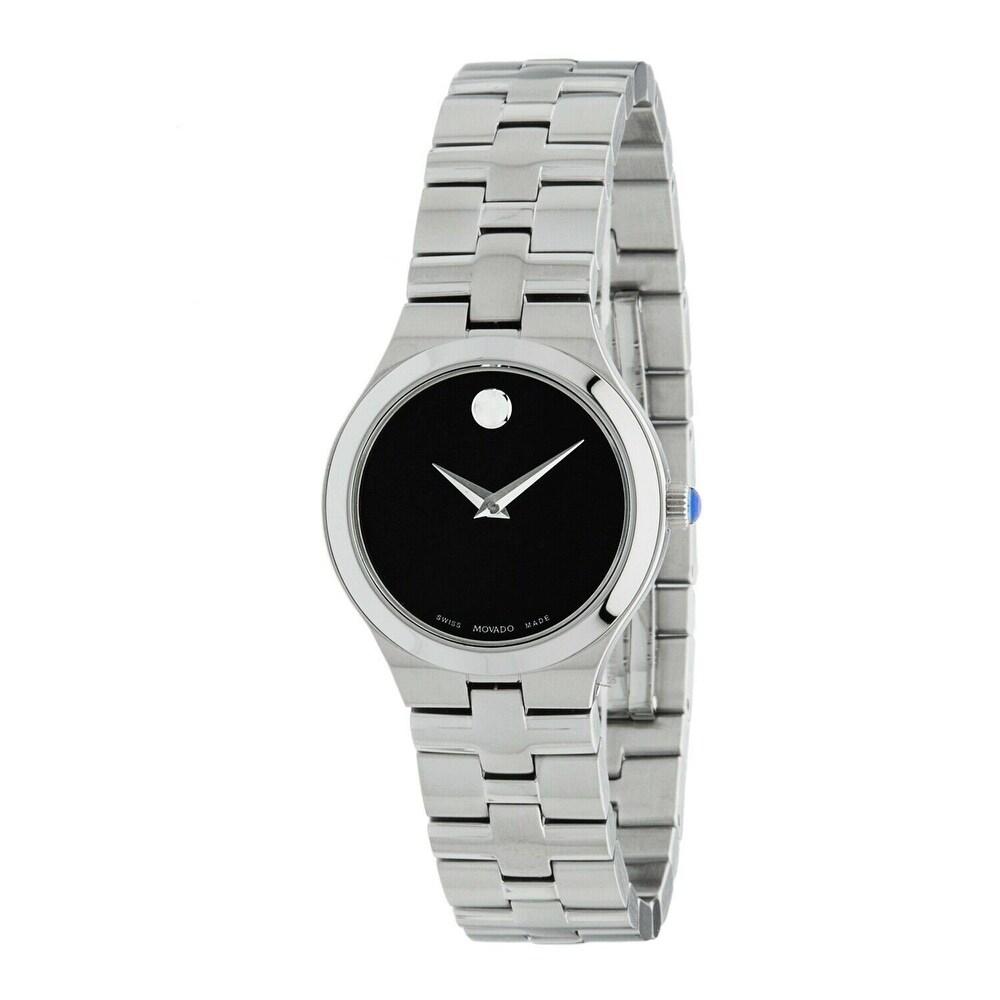 Movado Womens 0607444 Juro Stainless Steel Watch - Black (Black)
