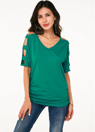 Soft Ladder Cutout Sleeve V Neck T Shirt - S