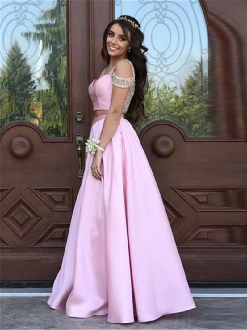 Ericdress Beading A-Line Short Sleeves Straps Prom Dress